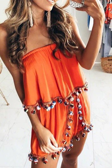 Sexy Strapless Tassel Fringed Orange One-piece Rompers