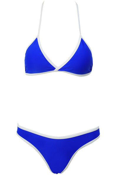 E&C Blue Triangle Contrast Trim High Cut Brazilian Bikini Swimsuit