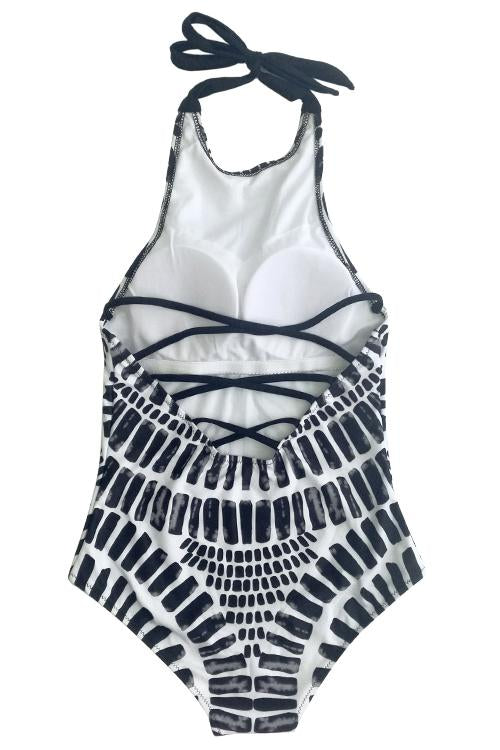 Tribal High Neck One piece Swimsuit