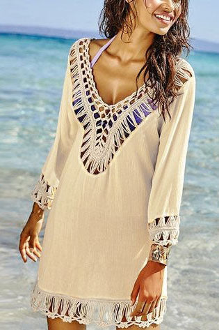 E&C Apricot Crochet Boho Hollow Out Sexy Beach Swimwear Cover Up Tunic