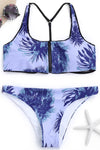 E&C Blue Leaf Print Zipper Crop Top Bikini Cheeky Sexy Swimsuit