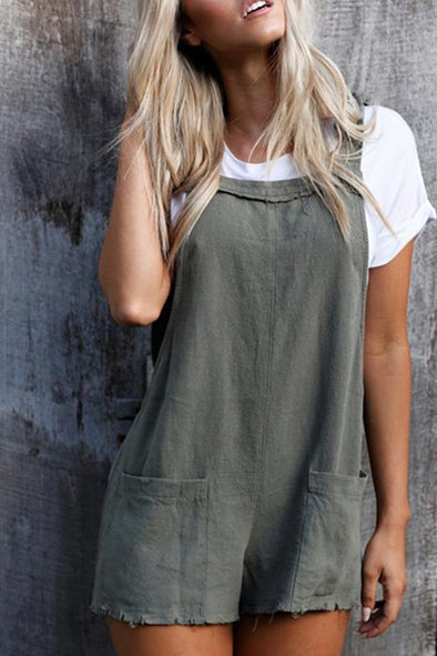 Street Backless Army Green One-piece Romper(Without Tank Top)