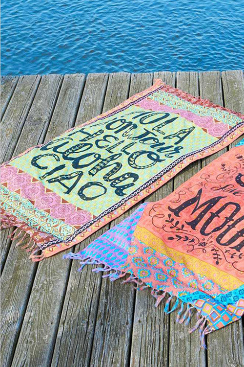 E&C Light Green Slogan Floral Tribal Print Fringed Boho Rectangle Mandala Beach Throw