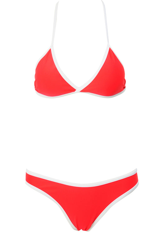 E&C Red Triangle Contrast Trim High Cut Brazilian Bikini Swimsuit
