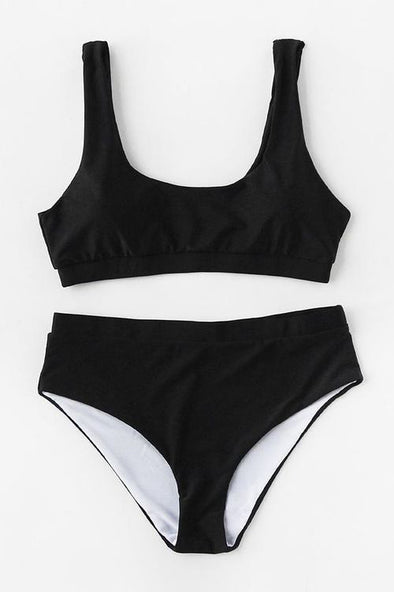 E&C Black Scoop High Waisted Sexy Bikini Bathing Suit