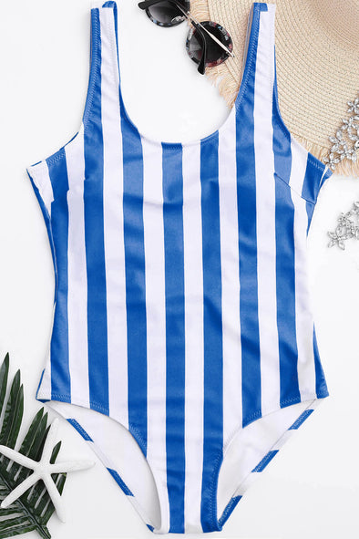 E&C Blue Stripe Low Back Cute One Piece Swimsuit