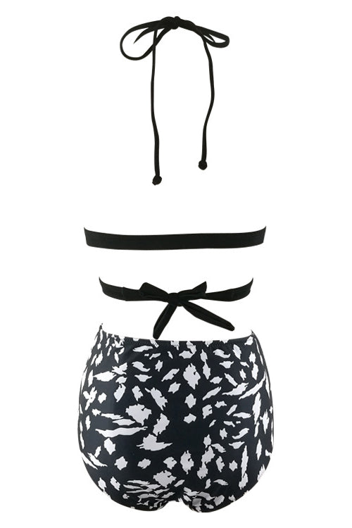 E&C Black Strappy Wrap Around Printed Sexy Bikini Swimsuit