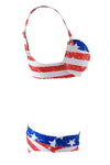 E&C Blue Red American Flag Print Push Up Sexy Bikini Bathing Suit