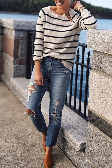 Casual Striped Zip Sweater