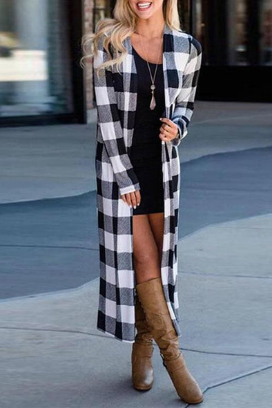 Casual Long Sleeve Plaid Cardigan