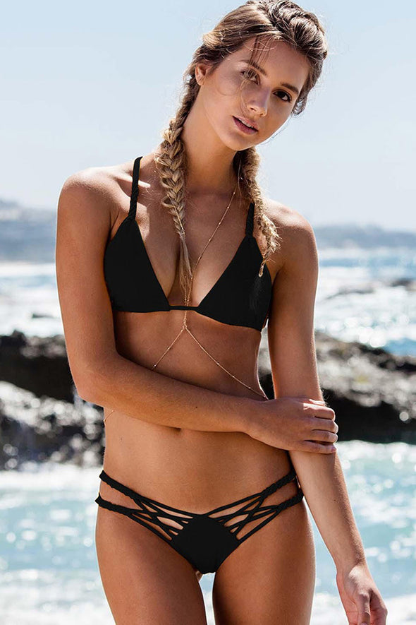 E&C Black Braided Strappy Pucker Back Cheeky Sexy Triangle Bikini Swimsuit