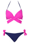 E&C Fuchsia Wrap Around Side Tie Halter Sexy Bikini Bathing Suit