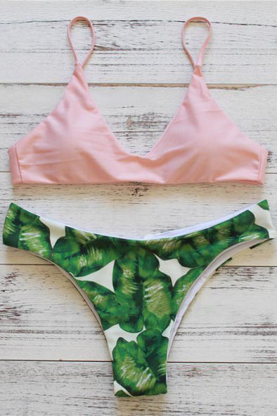 E&C Nude Pink Leaf Print Triangle Cheeky Sexy Bikini Swimsuit