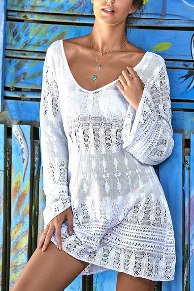 E&C White Crochet Flare Sleeve Sexy Sexy Beach Cover Up Tunic