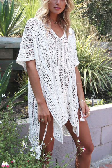 E&C White Crochet Hollow Out Sexy Beach Bathing Suit Cover Up Dress