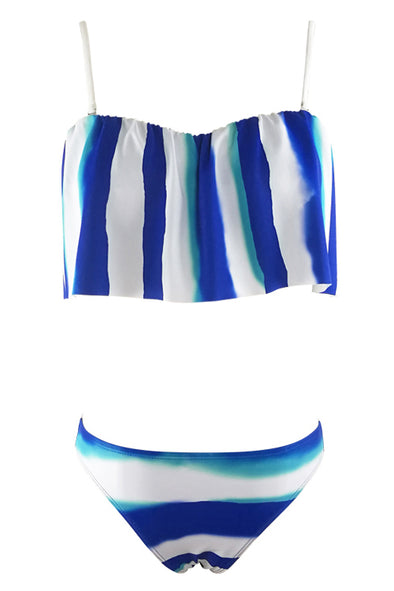 E&C White Blue Stripe Bow Decor Crop Top Sexy Bikini Swimsuit
