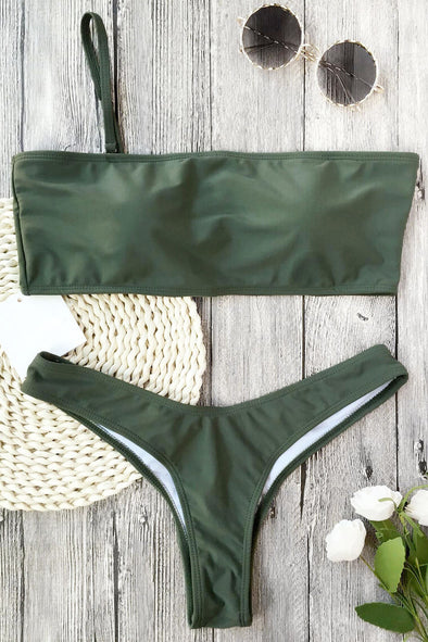 E&C Army Green Thong Scrunch Butt High Cut Sexy Bikini Swimsuit