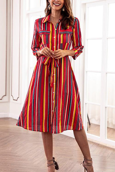 Colorful Striped Long Sleeve Shirt Dress