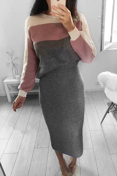 Stylish Casual Color Two-piece Suit