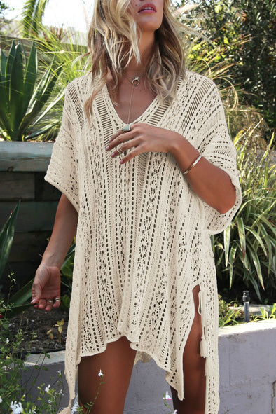 E&C Apricot Crochet Hollow Out Sexy Beach Bathing Suit Cover Up Dress
