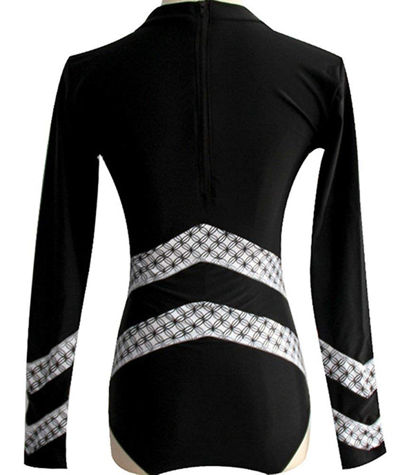 SPORT BLACK SURF FLORAL LONG SLEEVE RASH GUARD ONE PIECE SWIMSUIT