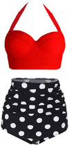 Vintage Polka dot Underwire High Waisted Bathing Suits
