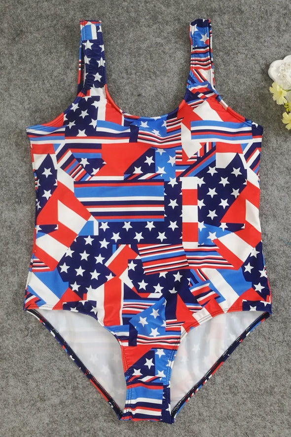 E&C Blue Scoop Neck Striped Stars Patriotic American Flag Print Backless Sexy One Piece Swimsuit