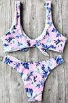 E&C Pink Palm Leaf Print Front Tie High Cut Cheeky Bikini Sexy Swimsuit