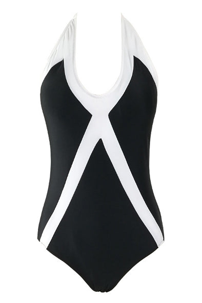 E&C Black Two Tone Halter Retro One Piece Swimsuit