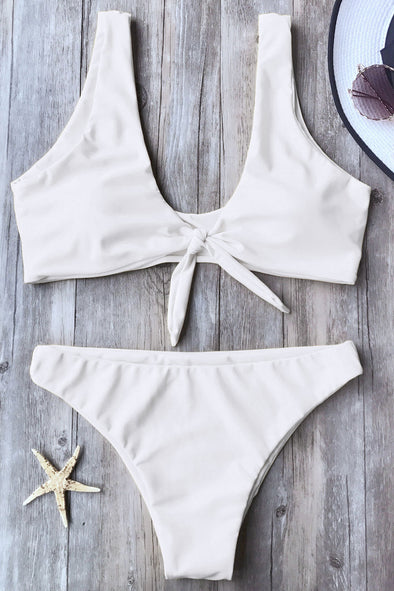 E&C White Knotted Cheeky Sexy Two Piece Bikini Swimsuit