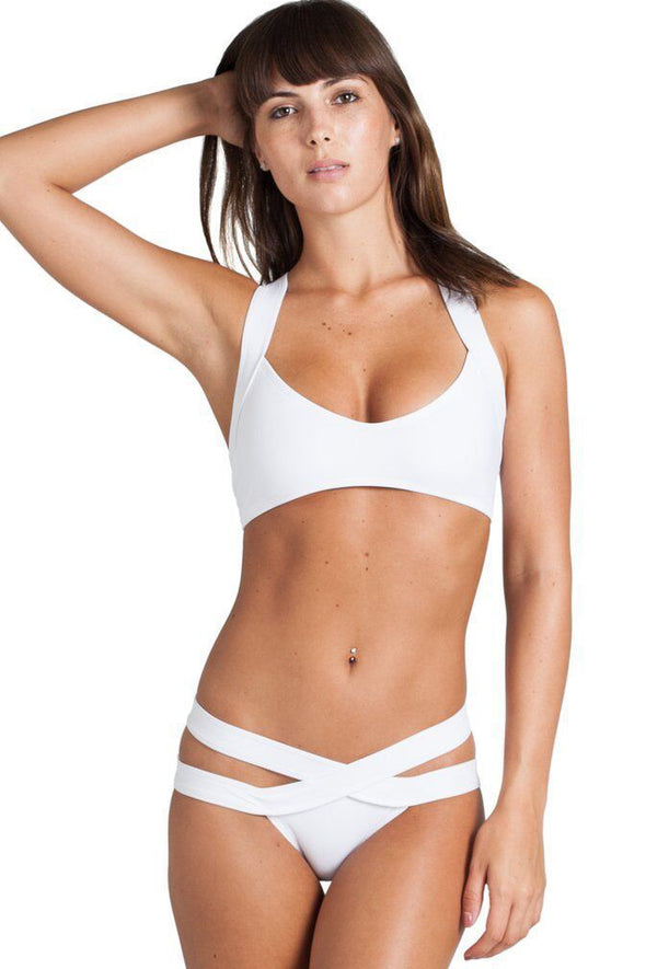 E&C White Strappy Bandage Sexy Two Piece Bikini Swimsuit
