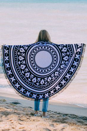 E&C Black White Tribal Print Fringed Mandala Boho Roundie Beach Throw