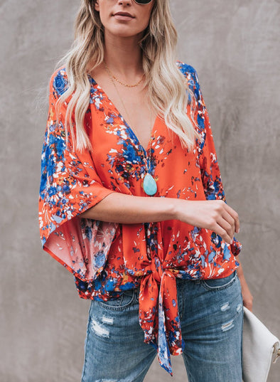 Red Chiffon Floral Print V Neck Half Bow Tie Loose Blouse
