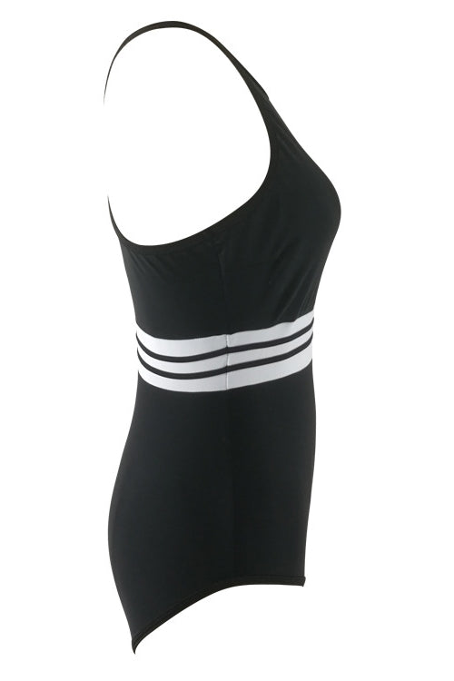 E&C Black White Round Neck Striped Two Tone Mesh Racer Back Sexy One Piece Swimsuit