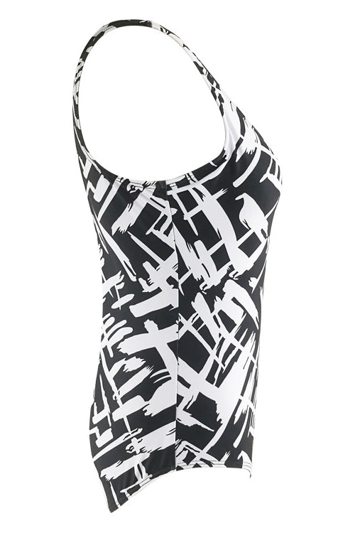 E&C Black White Scoop Neck Stripe Print Backless Modest One Piece Swimsuit