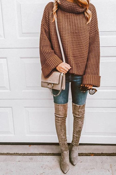 Casual high Neck Long Sleeve Sweater
