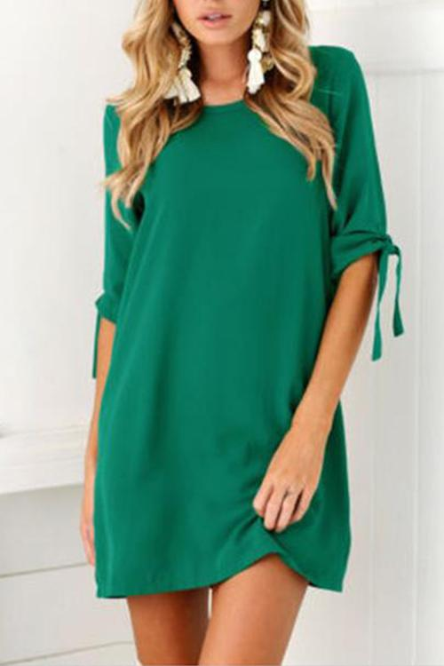 Solid Color Sleeves Round Neck Dress
