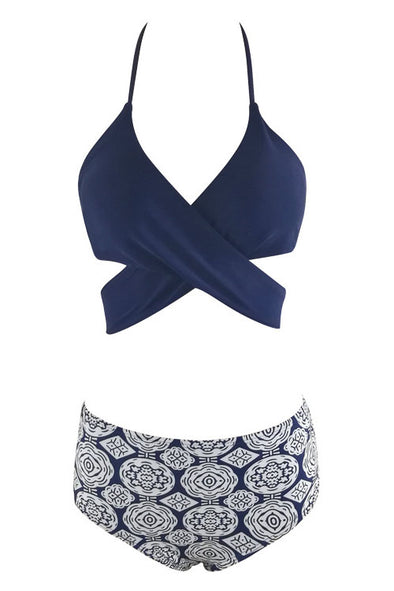 E&C Dark Blue Tribal Print Halter Wrap Around High Waisted Sexy Bikini Bathing Suit