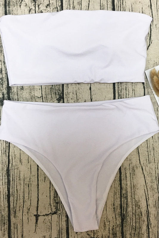 E&C White Bandeau High Cut Sexy Bikini Swimsuit