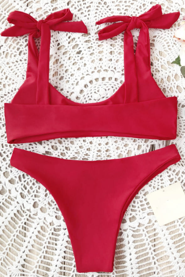 E&C Red Scoop Tie Shoulder High Cut Cheeky Sexy Bikini Bathing Suit