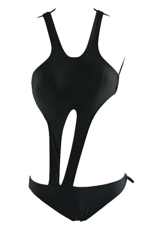 E&C Black Halter Scoop Neck Strappy Cutout Tied Backless Sexy One Piece Monokini