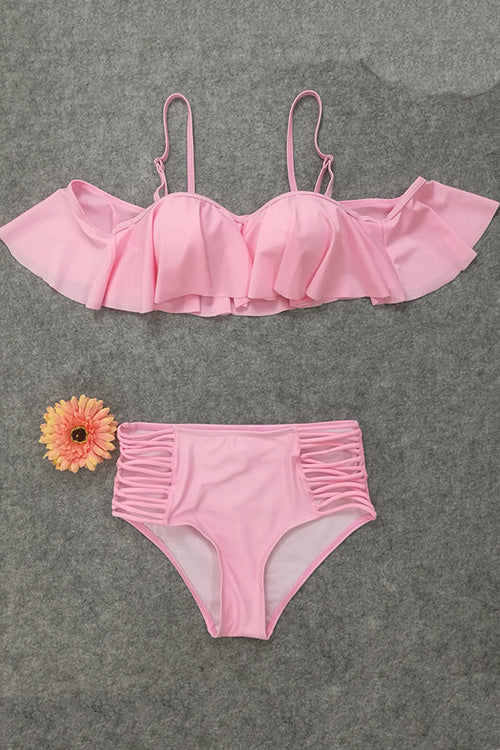 E&C Pink Ruffled Strappy High Waisted Two Piece Sexy Swimsuit