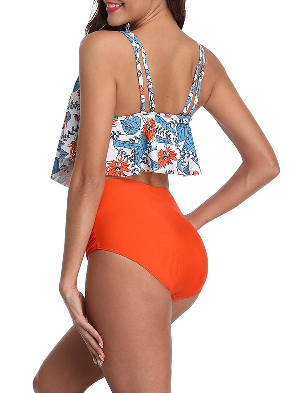 High Waist Bikini Crop Ruffled Sexy Two Piece Tankini Swimsuits