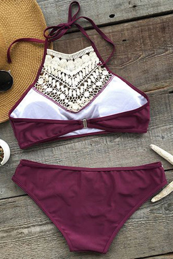 E&C Burgundy Crochet High Neck Halter Sexy Bikini Two Piece Swimsuit