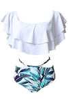 E&C White Green Leaf Print Off Shoulder Ruffle High Waisted Cutout Sexy Bikini Set