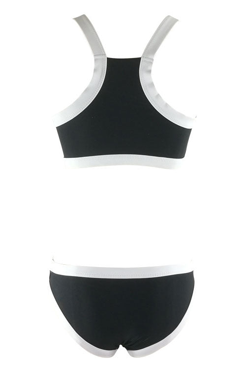 E&C Black White Contrast Trim Racer Back Padded Two Piece Swimsuit