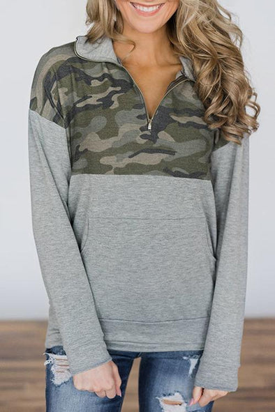 Fashion Camouflage Printed Zipper Hoodie