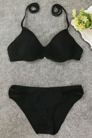 E&C Black Halter Mesh Sexy Push Up Bikini Swimsuit