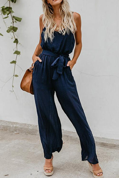 Strap Solid Color One-piece Jumpsuit