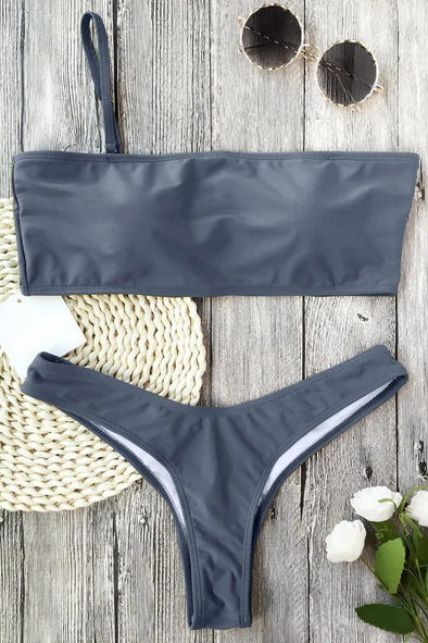 E&C Grey Thong Scrunch Butt High Cut Sexy Bikini Swimsuit